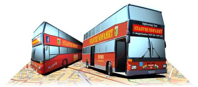 Busse der Leipziger Stadtrundfahrten auf einer Karte